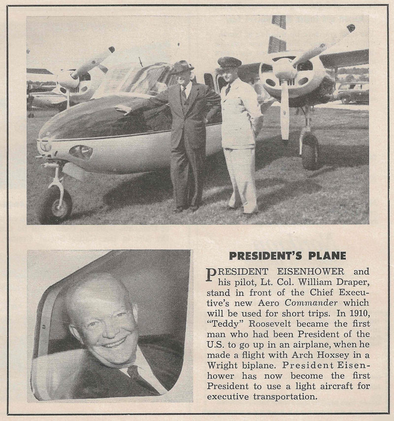 Aero Commander | President Eisenhower - Flying Magazine, Aug. 1955