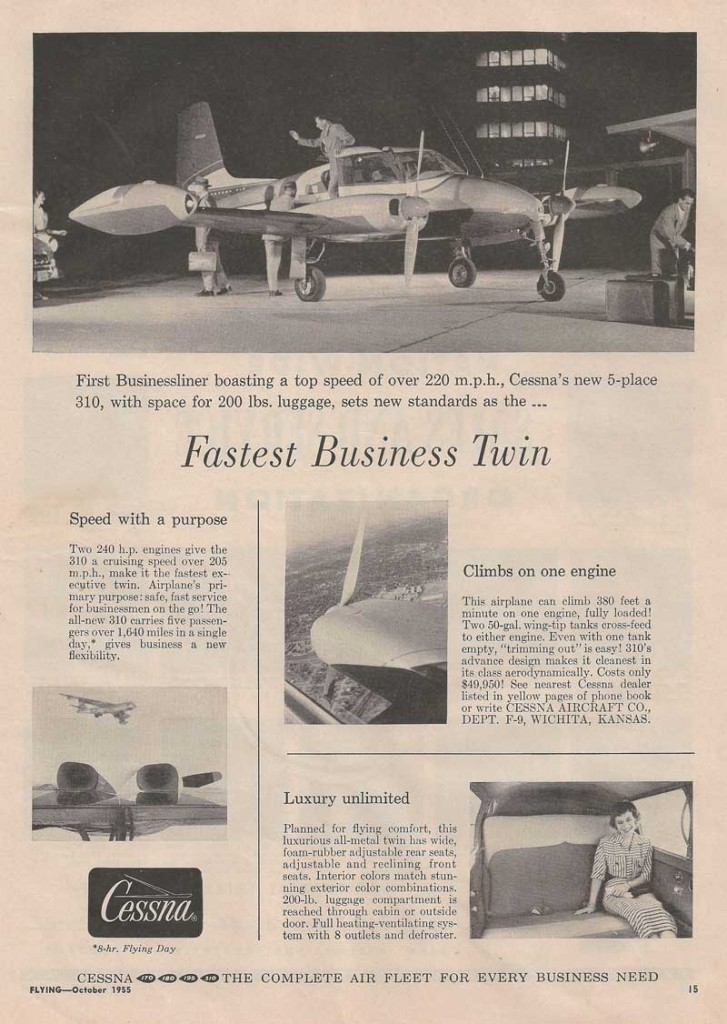 Cessna | Fastest Business Twin - Flying Magazine Oct. 1955